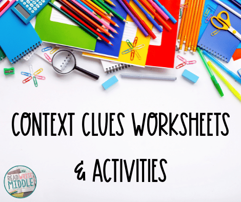 Context clues worksheet and activities cover page with school supplies in background