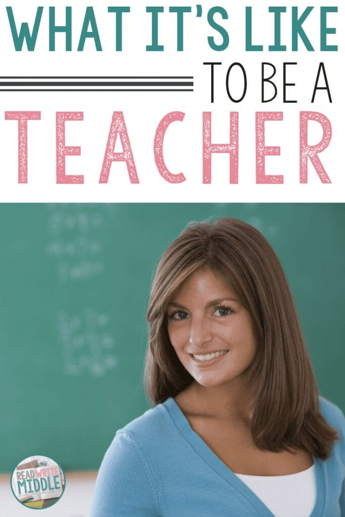 What it's like to be a teacher title image with woman standing in front of chalkboard