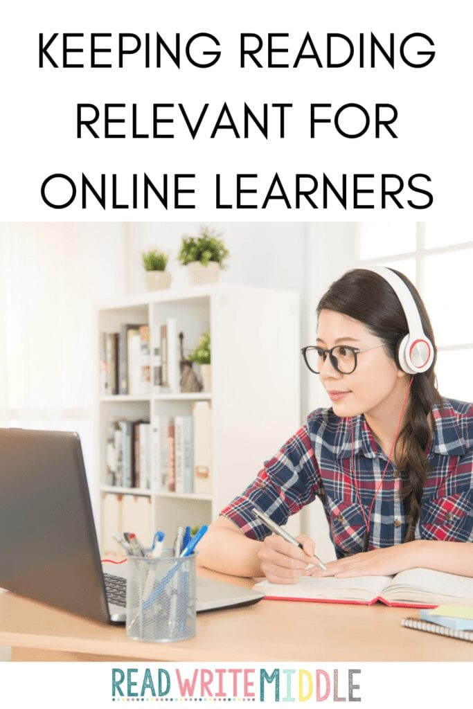 Keeping reading relevant for online learners- image of student learning online