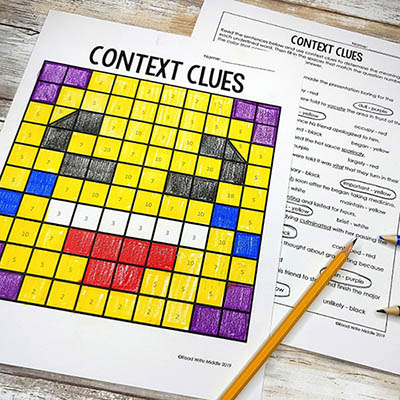Context clues worksheet that lets students color by number.